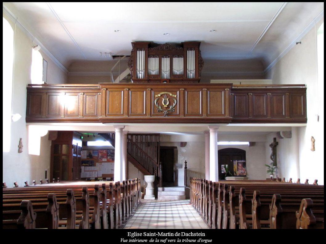 Eglise Saint-Martin de Dachstein Vue intérieure de la nef vers la tribune d'orgue