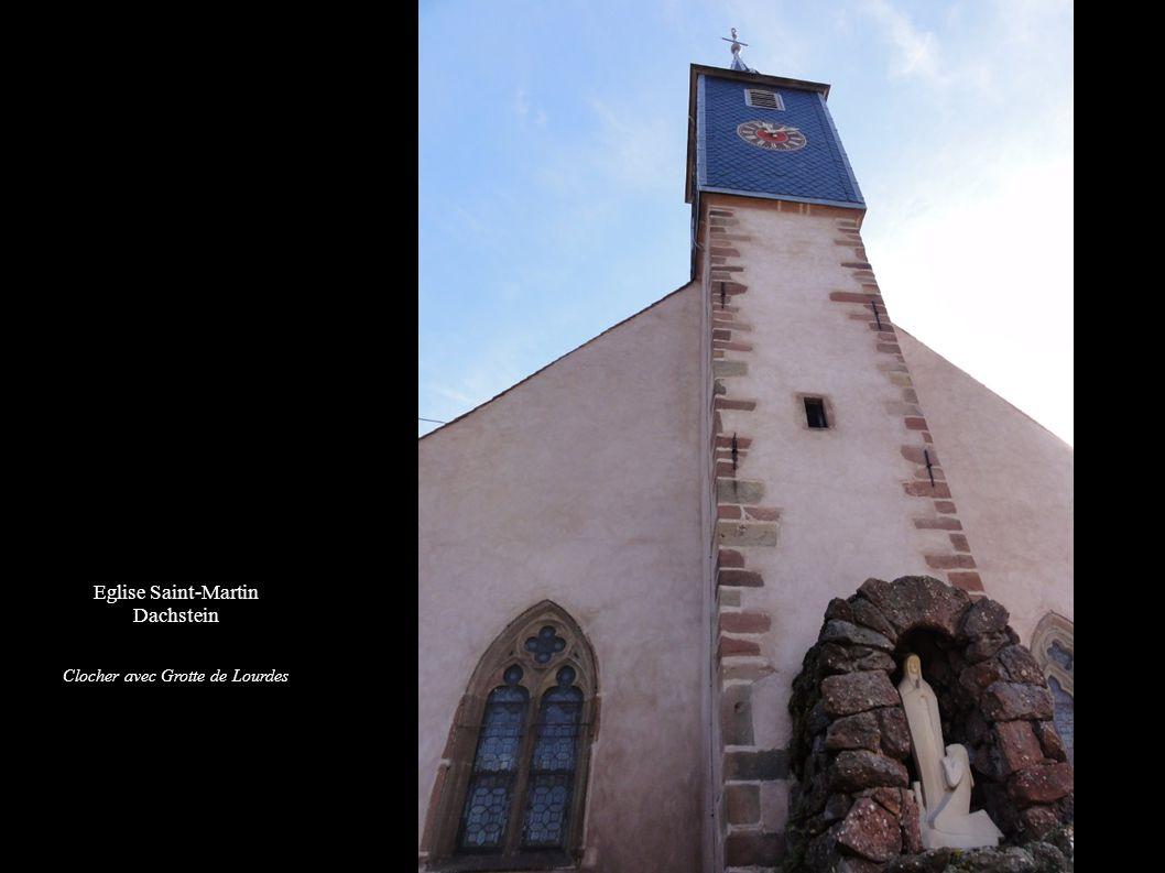 Eglise Saint-Martin Dachstein Clocher avec Grotte de Lourdes