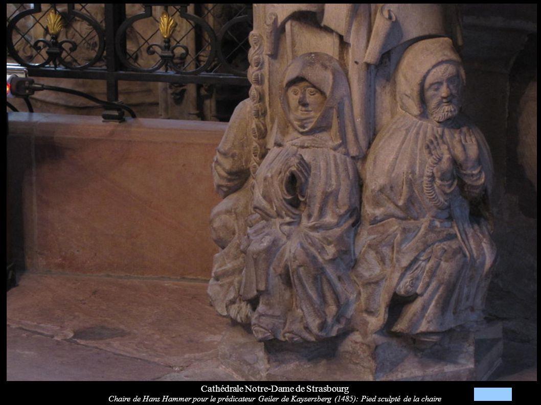 Cathédrale Notre-Dame de Strasbourg Chaire de Hans Hammer pour le prédicateur Geiler de Kaysersberg (1485): Pied sculpté de la chaire