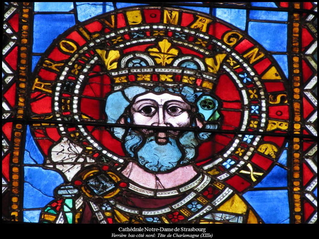 Cathédrale Notre-Dame de Strasbourg Verrière bas-côté nord: Tête de Charlemagne (XIIIe)