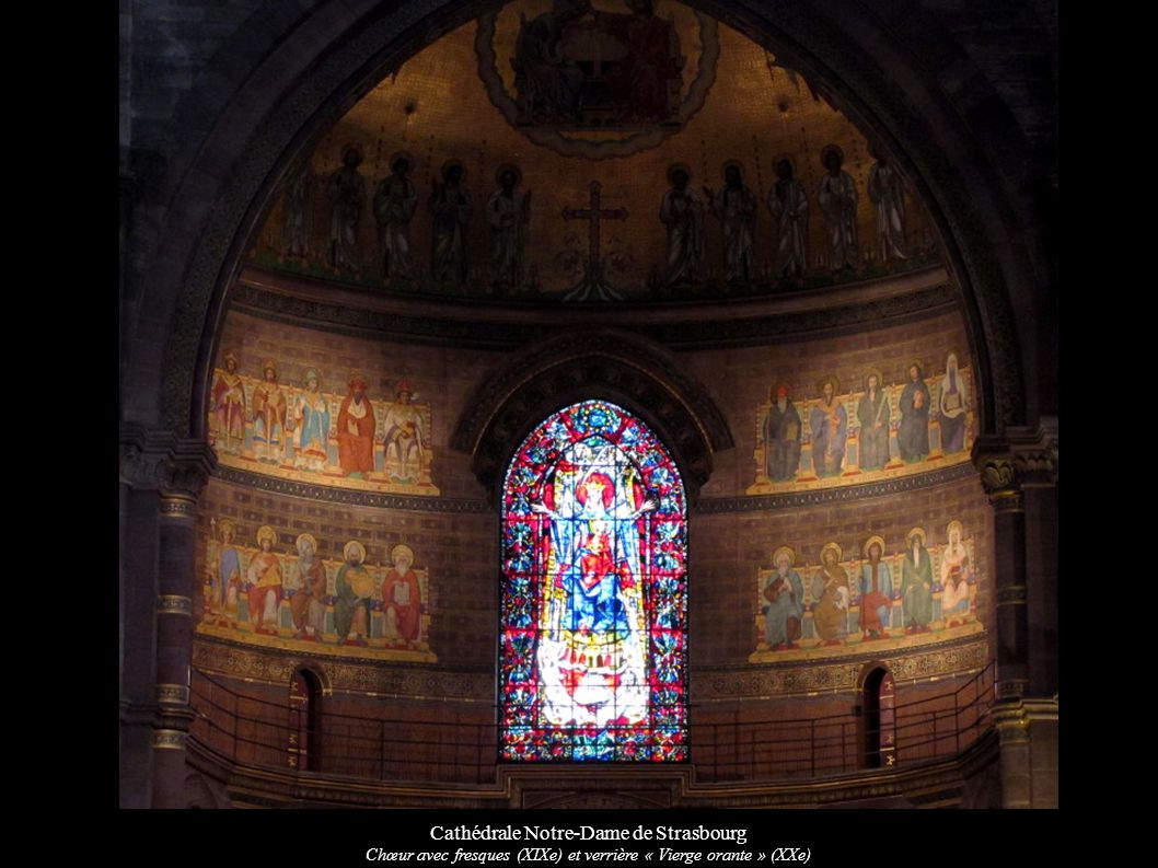 Cathédrale Notre-Dame de Strasbourg Façade sud et ouest Cathédrale Notre-Dame de Strasbourg Verrière romane du croisillon nord « Salomon et la reine de Saba » (XIIe) -Vierge orante -St Jean-Baptiste et St Jean -Rencontre de Salomon avec la reine -David et Salomon
