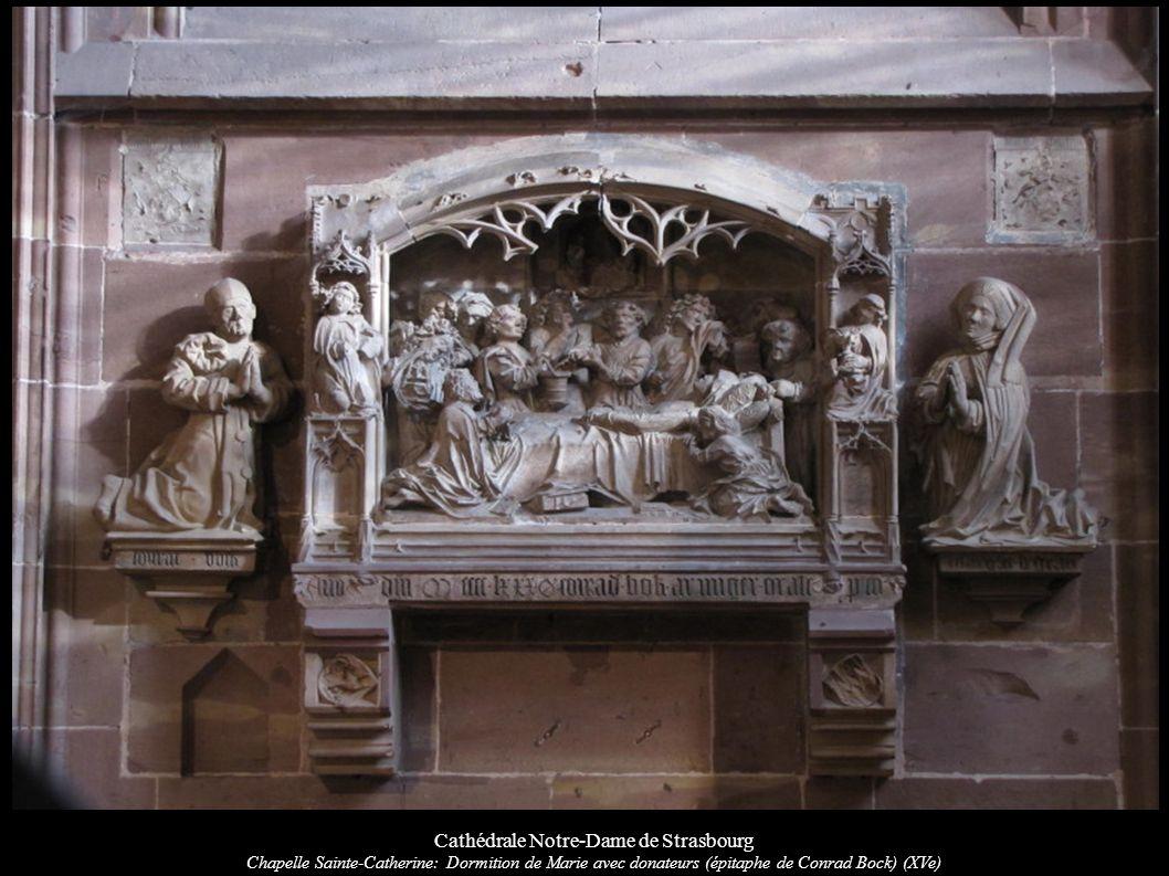 Cathédrale Notre-Dame de Strasbourg Chapelle Sainte-Catherine: Dormition de Marie avec donateurs (épitaphe de Conrad Bock) (XVe)