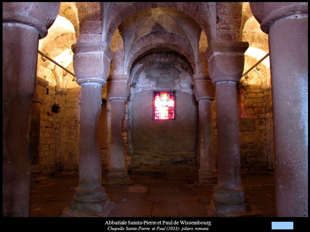 Abbatiale Saints-Pierre et Paul de Wissembourg Chapelle Saints-Pierre et Paul (1033): piliers romans
