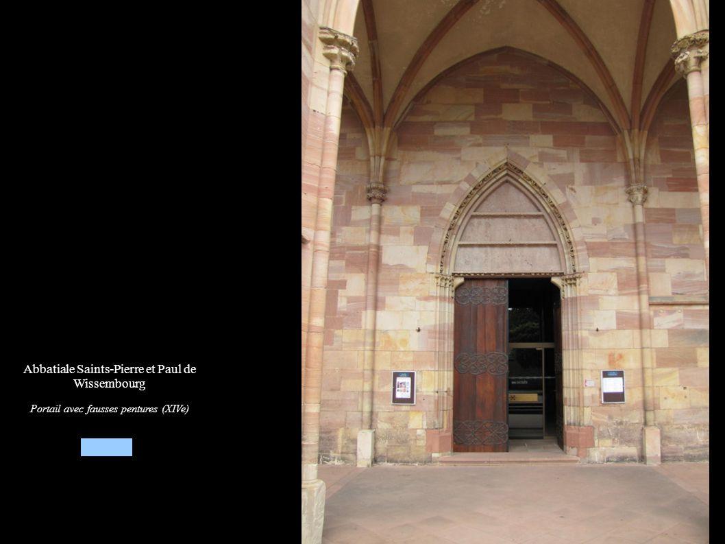 Abbatiale Saints-Pierre et Paul de Wissembourg Portail avec fausses pentures (XIVe)