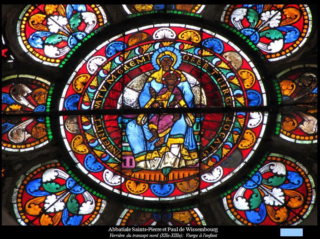 Abbatiale Saints-Pierre et Paul de Wissembourg Verrière du transept nord (XIIe-XIIIe): Vierge à l'enfant