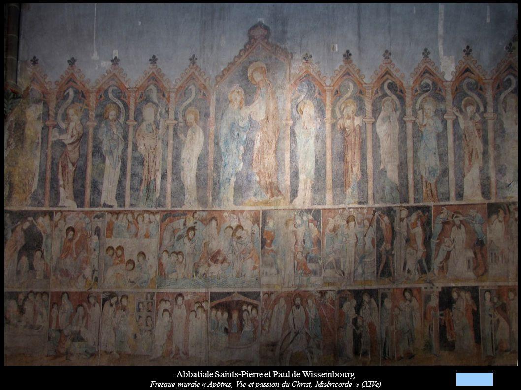 Abbatiale Saints-Pierre et Paul de Wissembourg Fresque murale « Apôtres, Vie et passion du Christ, Miséricorde » (XIVe)
