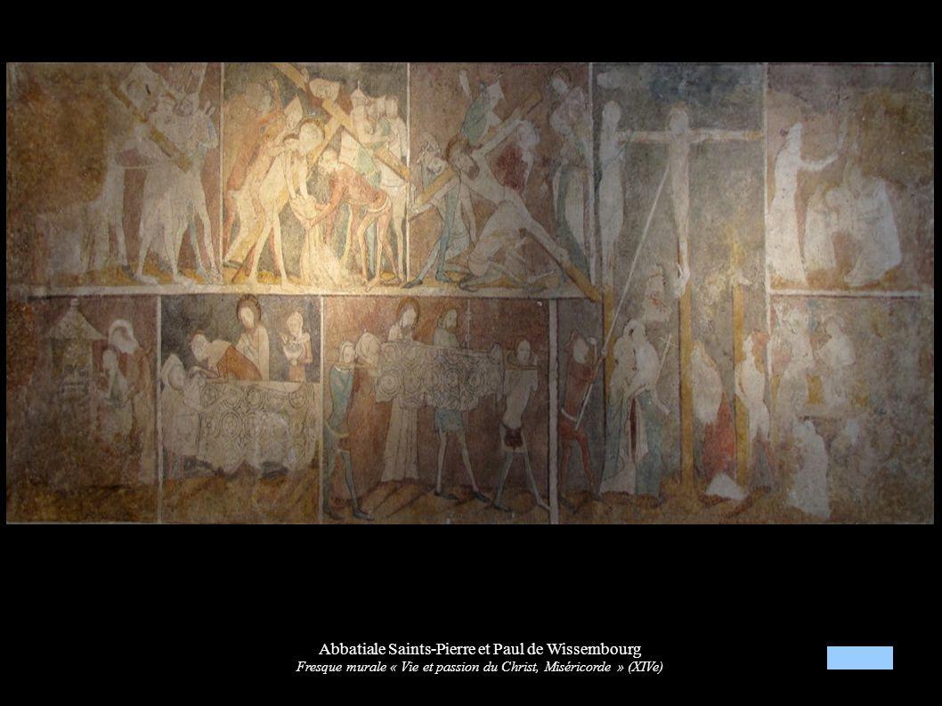 Abbatiale Saints-Pierre et Paul de Wissembourg Fresque murale « Vie et passion du Christ, Miséricorde » (XIVe)