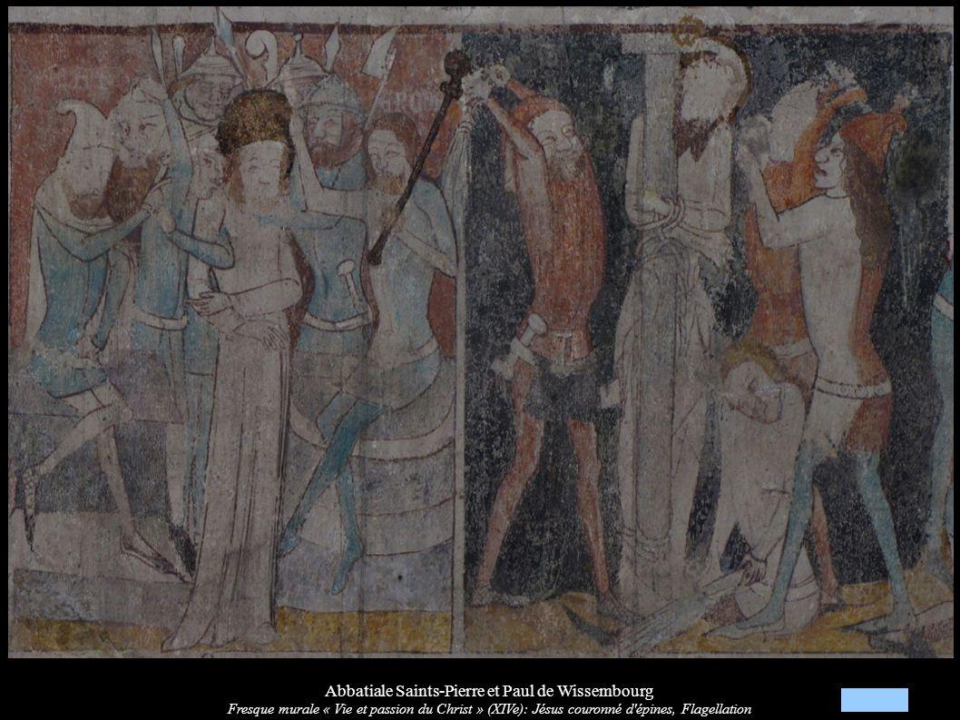 Abbatiale Saints-Pierre et Paul de Wissembourg Fresque murale « Vie et passion du Christ » (XIVe): Jésus couronné d'épines, Flagellation