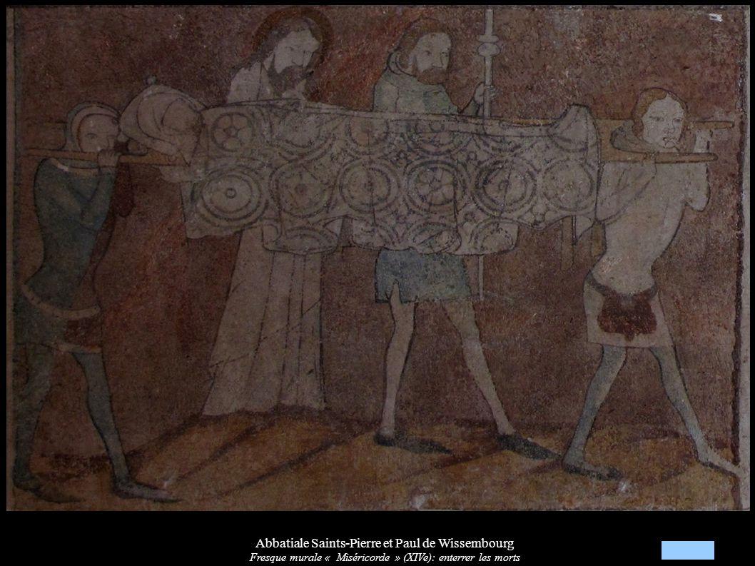 Abbatiale Saints-Pierre et Paul de Wissembourg Fresque murale « Miséricorde » (XIVe): enterrer les morts