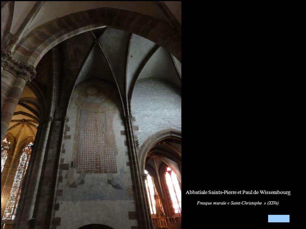 Abbatiale Saints-Pierre et Paul de Wissembourg Fresque murale « Saint-Christophe » (XIVe)