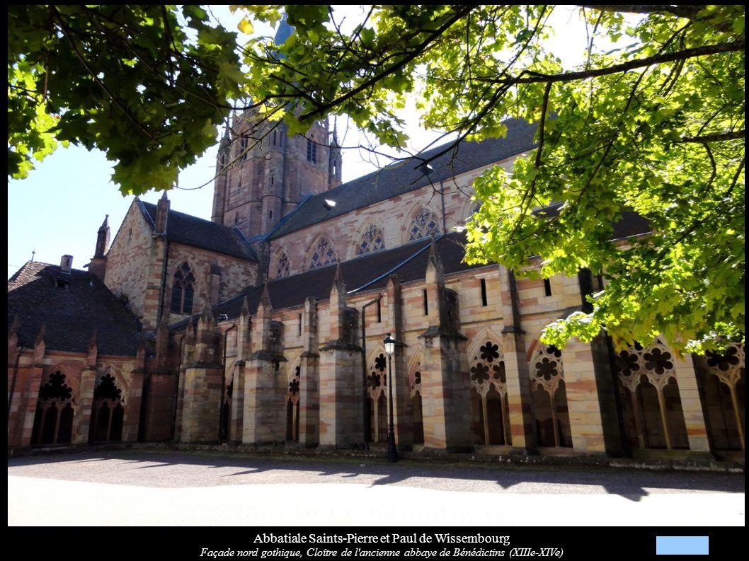 Abbatiale Saints-Pierre et Paul de Wissembourg Façade nord gothique, Cloître de l'ancienne abbaye de Bénédictins (XIIIe-XIVe)