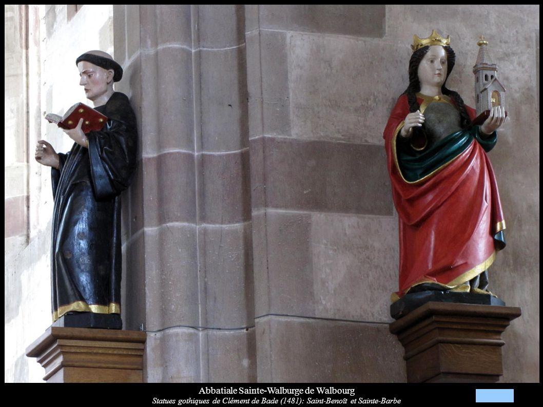 Abbatiale Sainte-Walburge de Walbourg Statues gothiques de Clément de Bade (1481): Saint-Benoît et Sainte-Barbe