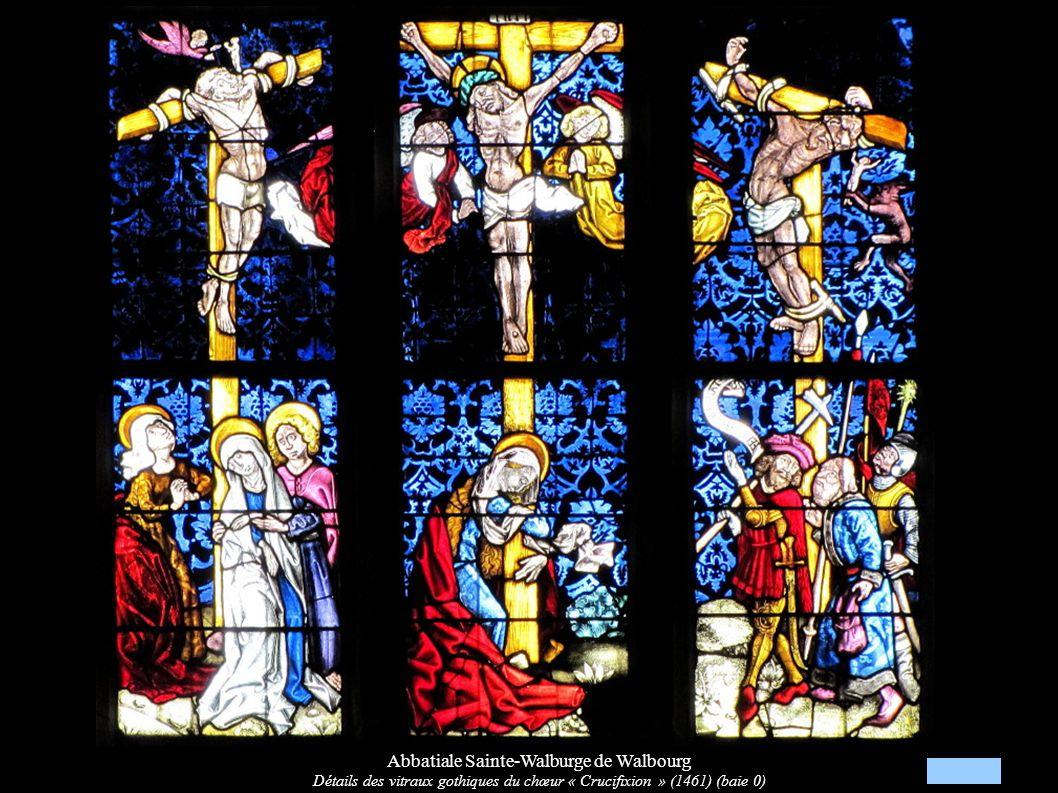 Abbatiale Sainte-Walburge de Walbourg Détails des vitraux gothiques du chœur « Crucifixion » (1461) (baie 0)