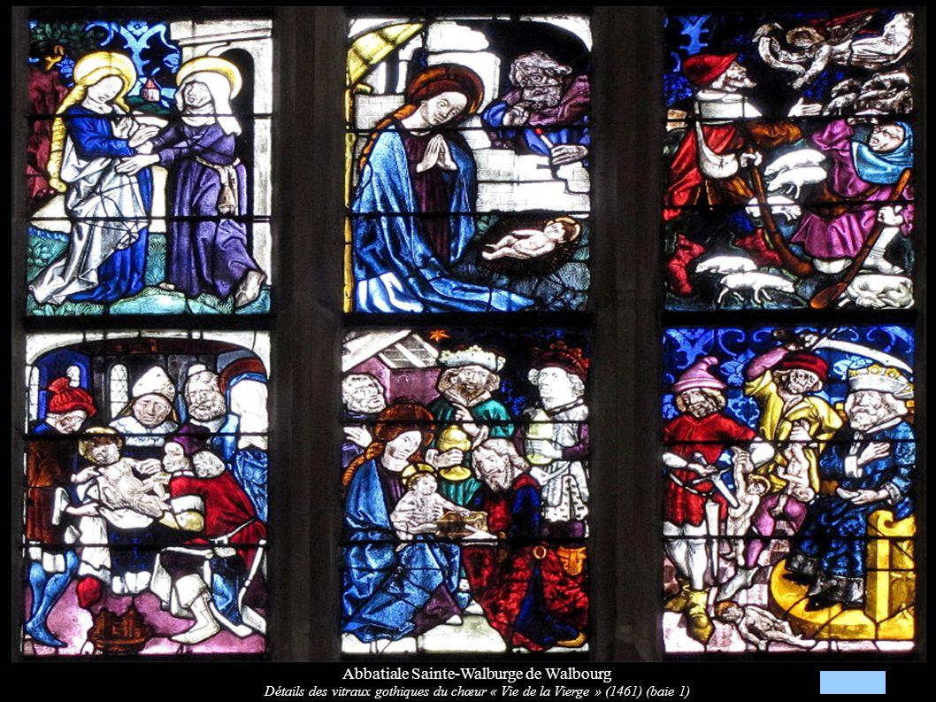 Abbatiale Sainte-Walburge de Walbourg Détails des vitraux gothiques du chœur « Vie de la Vierge » (1461) (baie 1)