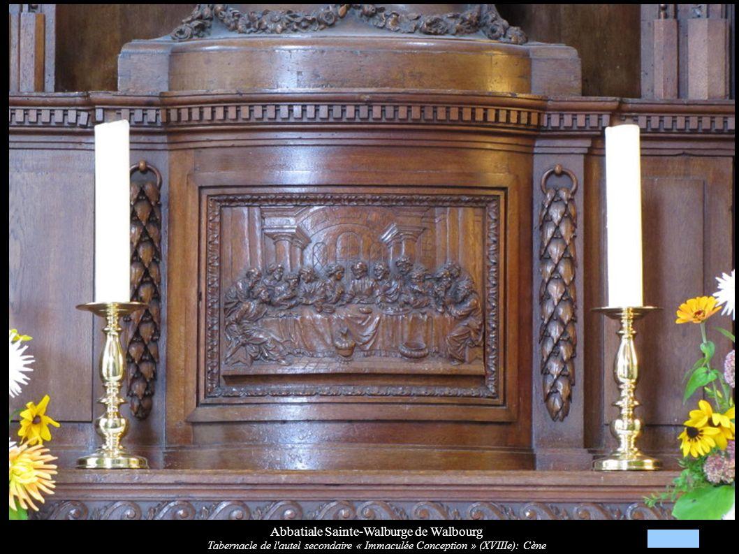 Abbatiale Sainte-Walburge de Walbourg Tabernacle de l'autel secondaire « Immaculée Conception » (XVIIIe): Cène
