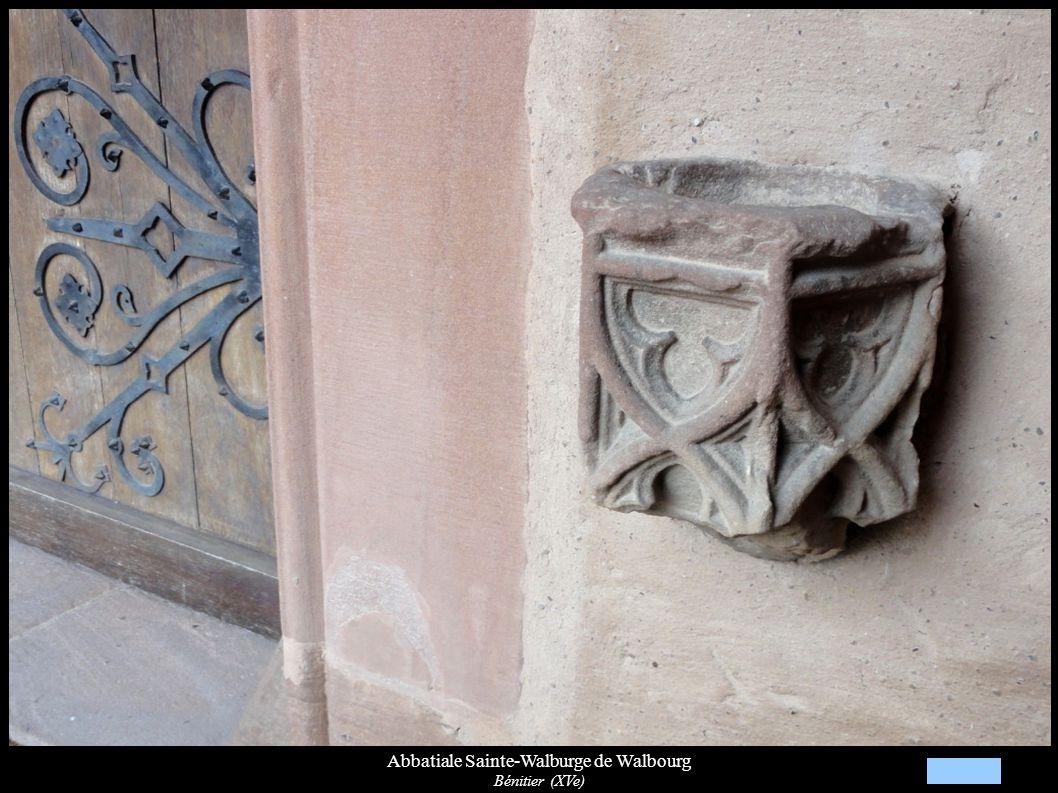 Abbatiale Sainte-Walburge de Walbourg Autre verrière gothique (XVe): St-Sébastien, St-Etienne (XVe) (baie 4)