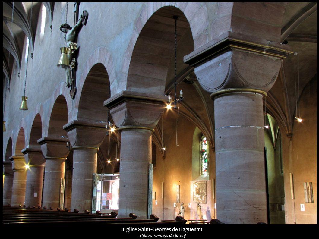 Eglise Saint-Georges de Haguenau Piliers romans de la nef