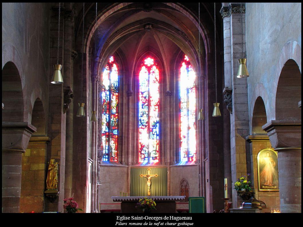 Eglise Saint-Georges de Haguenau Piliers romans de la nef et chœur gothique