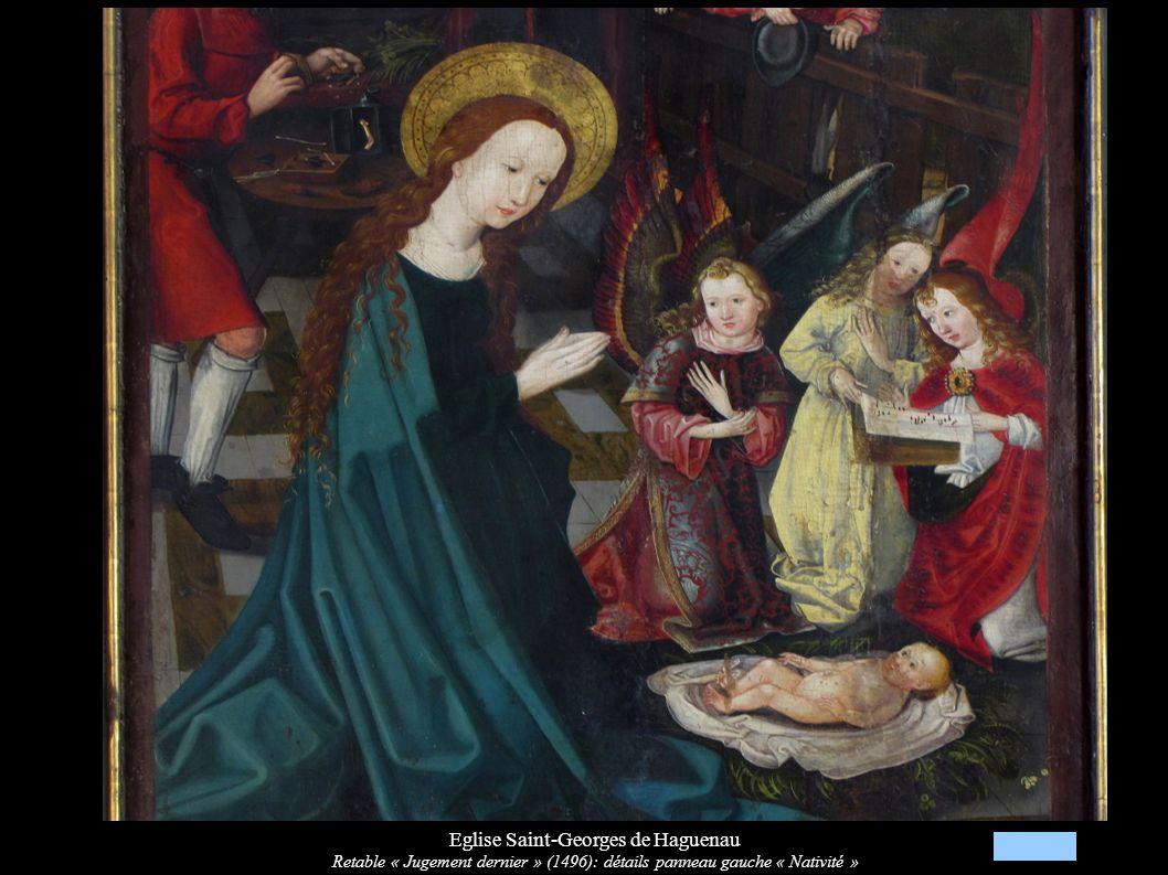 Eglise Saint-Georges de Haguenau Retable « Jugement dernier » (1496): détails panneau gauche « Nativité »