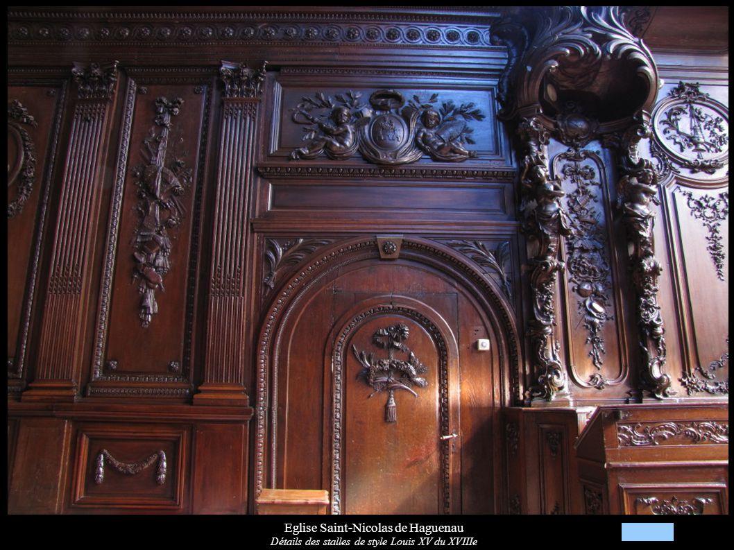 Eglise Saint-Nicolas de Haguenau Détails des stalles de style Louis XV du XVIIIe