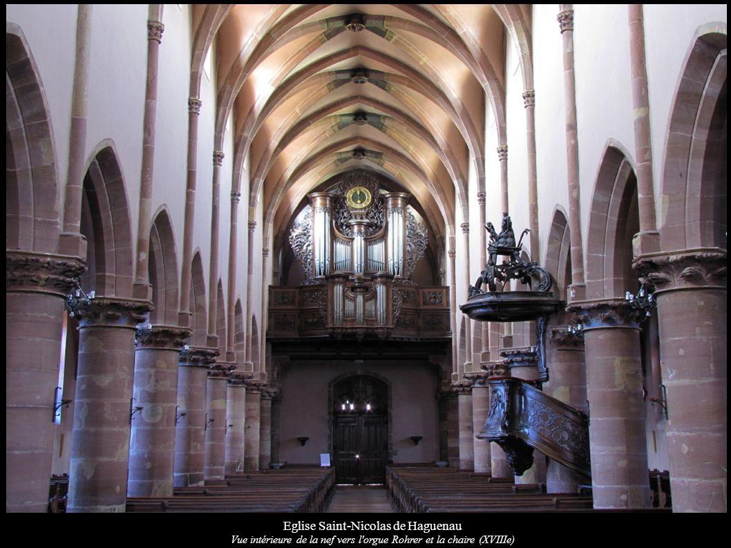 Eglise Saint-Nicolas de Haguenau Vue intérieure de la nef vers l orgue Rohrer et la chaire (XVIIIe)