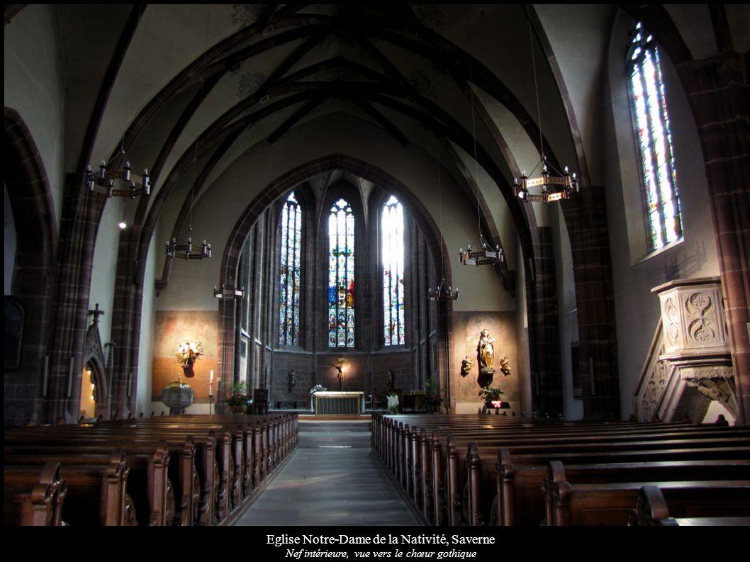 Eglise Notre-Dame de la Nativité, Saverne Nef intérieure, vue vers le chœur gothique