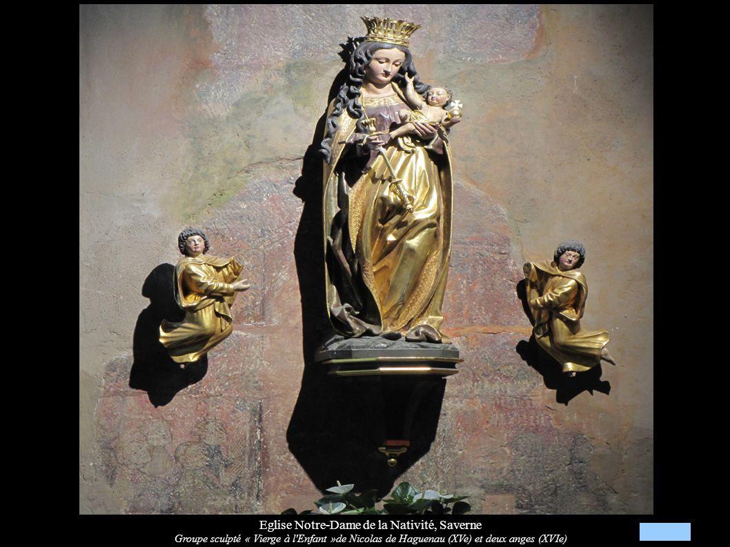 Eglise Notre-Dame de la Nativité, Saverne Groupe sculpté « Vierge à l'Enfant »de Nicolas de Haguenau (XVe) et deux anges (XVIe)