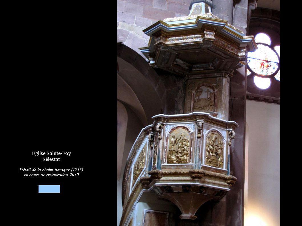 Eglise Sainte-Foy Sélestat Détail de la chaire baroque (1733) en cours de restauration 2010