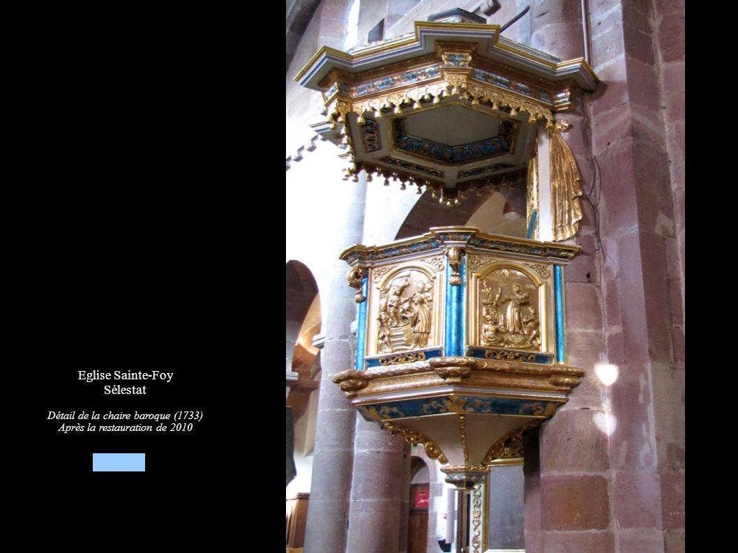 Eglise Sainte-Foy Sélestat Détail de la chaire baroque (1733) Après la restauration de 2010