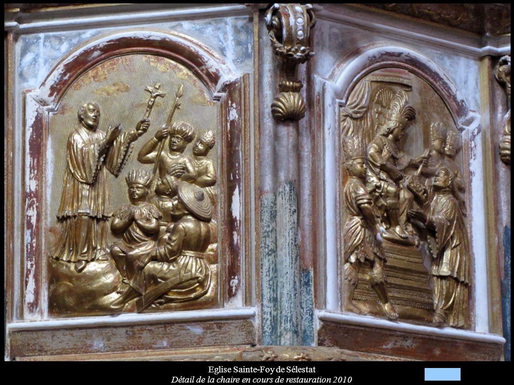 Eglise Sainte-Foy de Sélestat Détail de la chaire en cours de restauration 2010