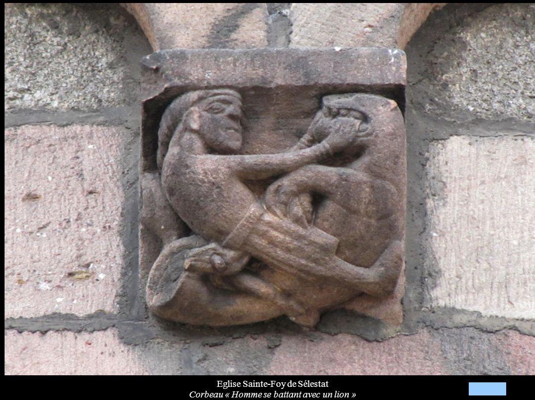 Eglise Sainte-Foy de Sélestat Corbeau « Homme se battant avec un lion »