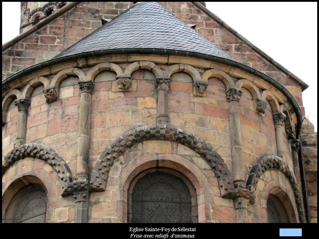 Eglise Sainte-Foy de Sélestat Frise avec reliefs d'animaux