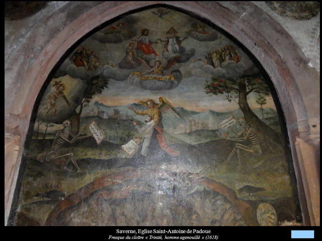 Saverne, Eglise Saint-Antoine de Padoue Fresque du cloître « Trinité, homme agenouillé » (1618)