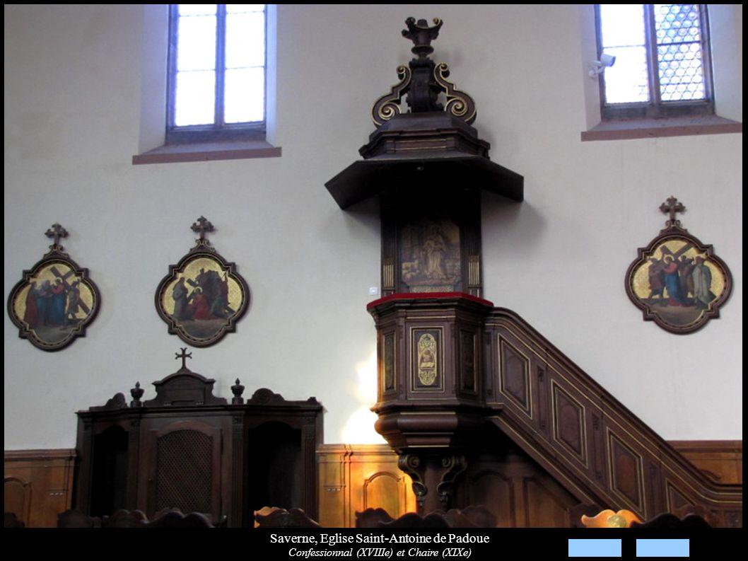 Saverne, Eglise Saint-Antoine de Padoue Confessionnal (XVIIIe) et Chaire (XIXe)