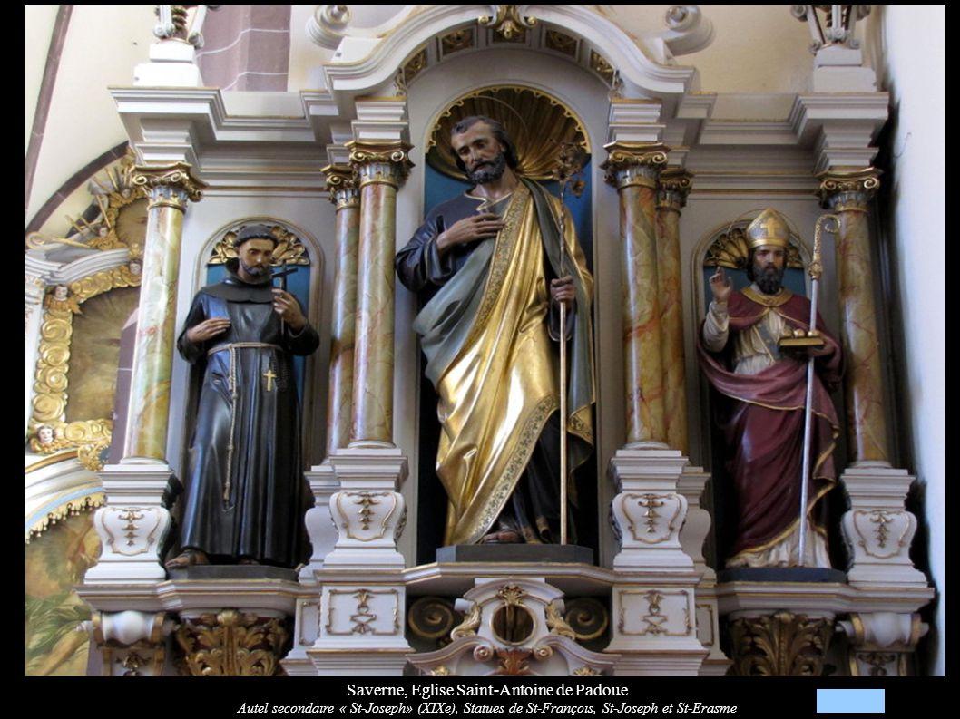 Saverne, Eglise Saint-Antoine de Padoue Autel secondaire « St-Joseph» (XIXe), Statues de St-François, St-Joseph et St-Erasme