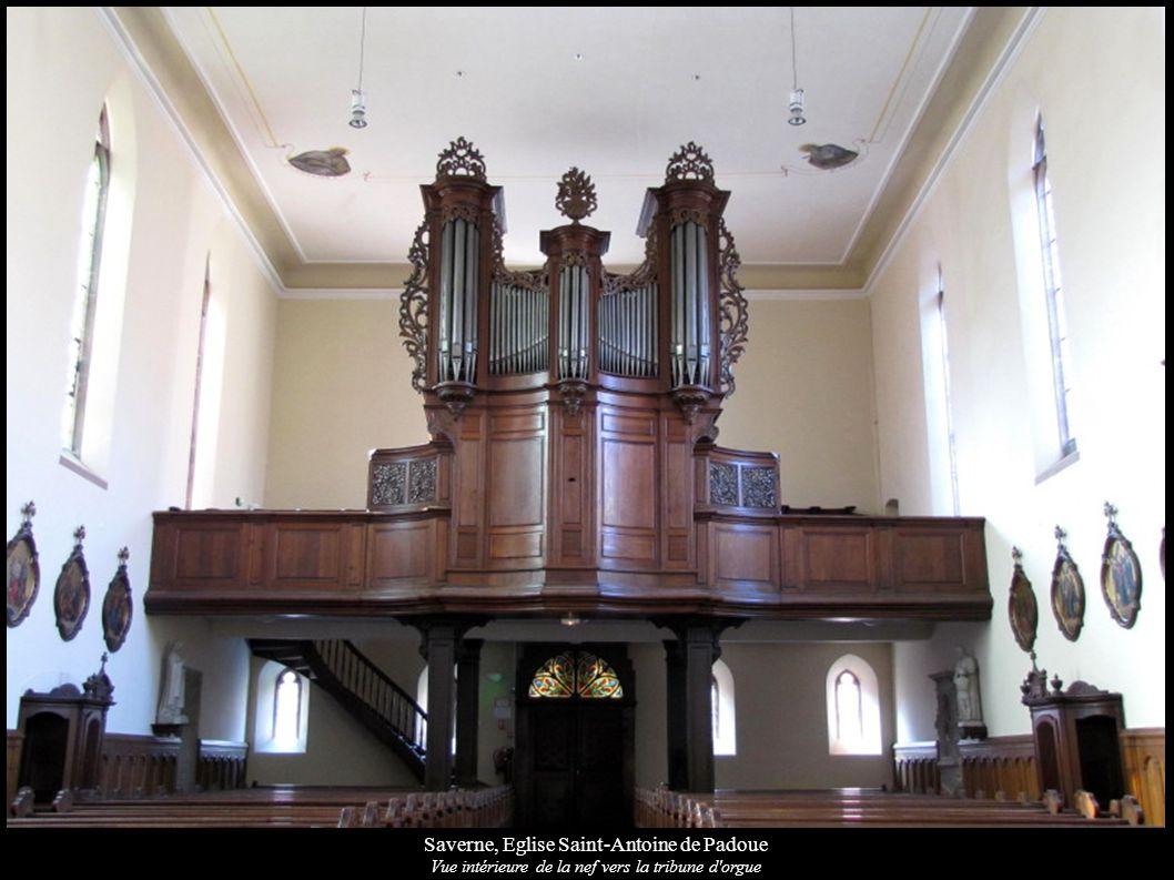 Saverne, Eglise Saint-Antoine de Padoue Vue intérieure de la nef vers la tribune d'orgue