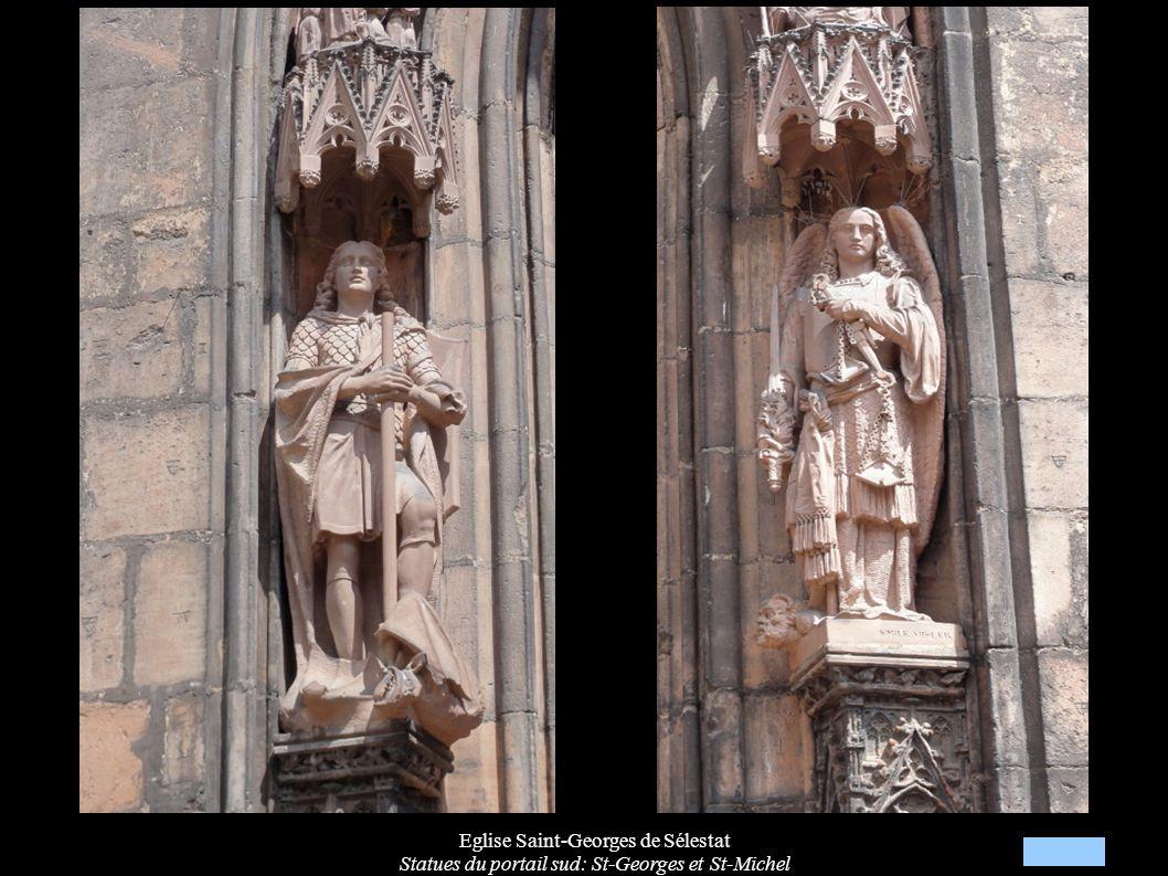 Eglise Saint-Georges de Sélestat Statues du portail sud: St-Georges et St-Michel