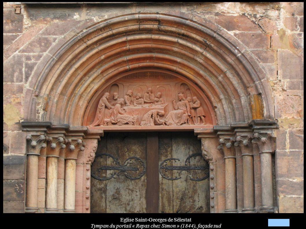 Eglise Saint-Georges de Sélestat Tympan du portail « Repas chez Simon » (1844), façade sud