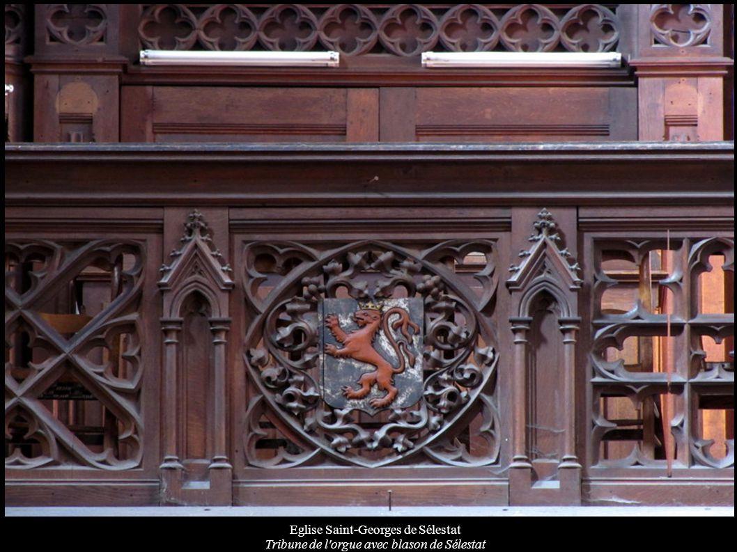 Eglise Saint-Georges de Sélestat Tribune de l'orgue avec blason de Sélestat