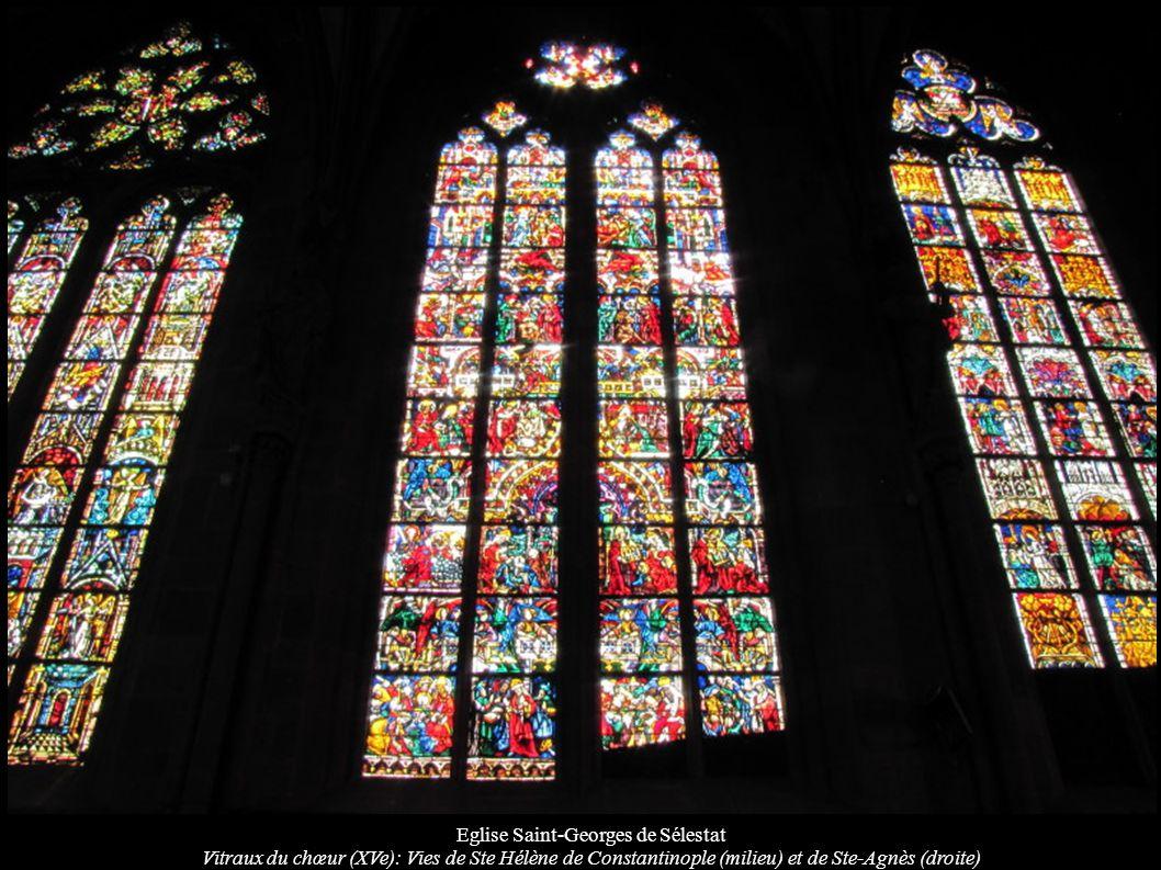 Eglise Saint-Georges de Sélestat Vitraux du chœur (XVe): Vies de Ste Hélène de Constantinople (milieu) et de Ste-Agnès (droite)