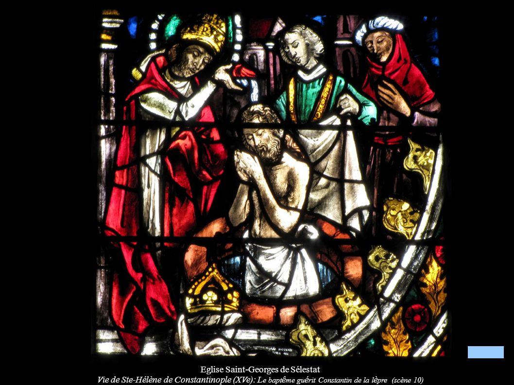 Eglise Saint-Georges de Sélestat Vie de Ste-Hélène de Constantinople (XVe): L e bapt ê me gu é rit Constantin de la l è pre (scène 10)