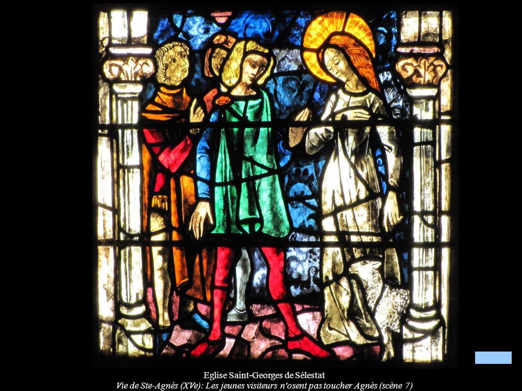 Eglise Saint-Georges de Sélestat Vie de Ste-Agnès (XVe): Les jeunes visiteurs n'osent pas toucher Agnès (scène 7)