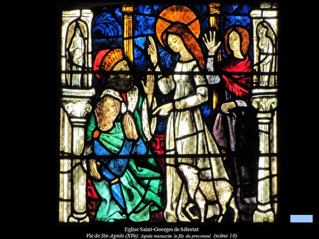 Eglise Saint-Georges de Sélestat Vie de Ste-Agnès (XVe): Agnès ressuscite le fils du proconsul (scène 10)