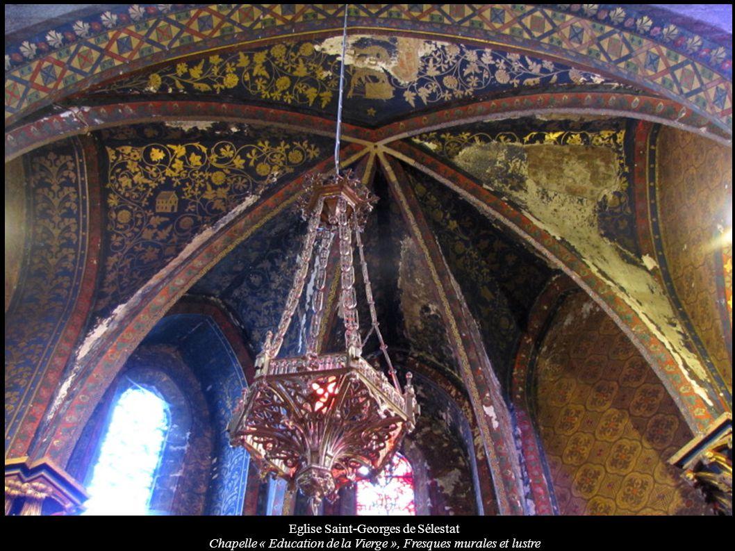 Eglise Saint-Georges de Sélestat Chapelle « Education de la Vierge », Fresques murales et lustre