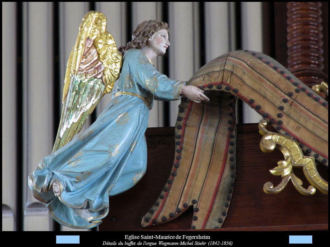Eglise Saint-Maurice de Fegersheim Détails du buffet de l orgue Wegmann-Michel Stiehr (1842-1856)