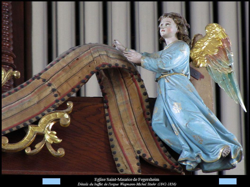 Eglise Saint-Maurice de Fegersheim Détails du buffet de l'orgue Wegmann-Michel Stiehr (1842-1856)