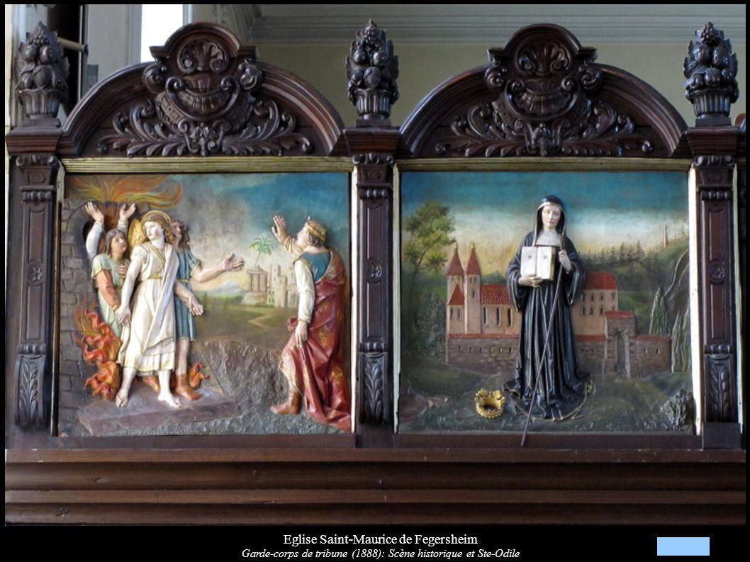 Eglise Saint-Maurice de Fegersheim Garde-corps de tribune (1888): Scène historique et Ste-Odile