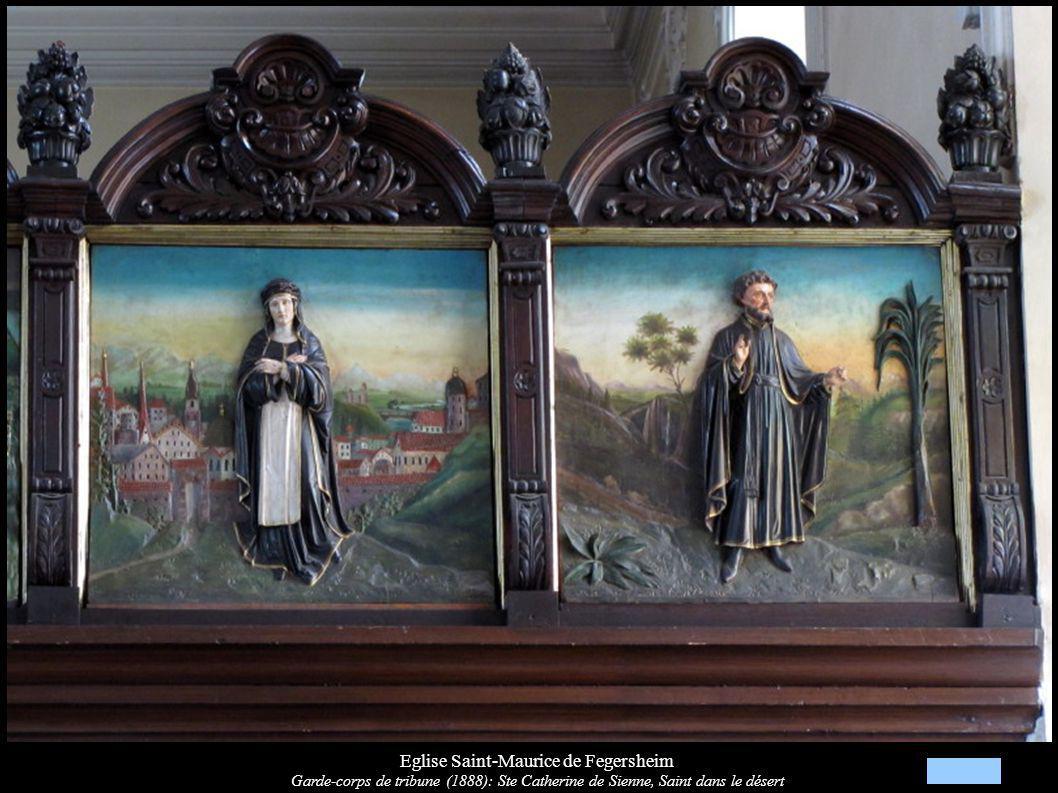 Eglise Saint-Maurice de Fegersheim Garde-corps de tribune (1888): Ste Catherine de Sienne, Saint dans le désert