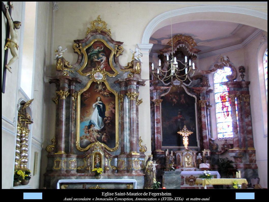 Eglise Saint-Maurice de Fegersheim Autel secondaire « Immaculée Conception, Annonciation » (XVIIIe-XIXe) et maître-autel