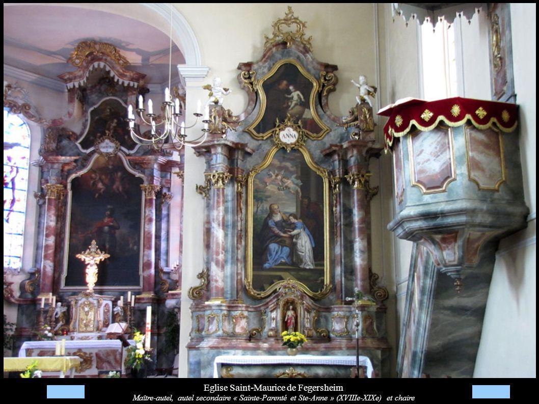 Eglise Saint-Maurice de Fegersheim Maître-autel, autel secondaire « Sainte-Parenté et Ste-Anne » (XVIIIe-XIXe) et chaire